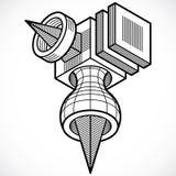 Abstrakt trigonometric konstruktion, dimensionell design t för vektor Royaltyfri Foto
