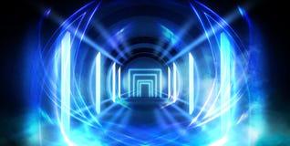 Abstrakt tunnel, korridor med strålar av ljusa och nya viktig Abstrakt blå bakgrund, neon fotografering för bildbyråer