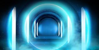 Abstrakt tunnel, korridor med strålar av ljusa och nya viktig Abstrakt blå bakgrund, neon royaltyfri fotografi
