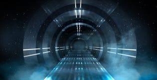 Abstrakt tunnel, korridor med strålar av ljusa och nya viktig Abstrakt blå bakgrund, neon arkivbild