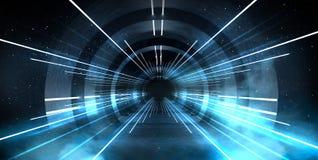 Abstrakt tunnel, korridor med strålar av ljusa och nya viktig Abstrakt blå bakgrund, neon arkivfoton
