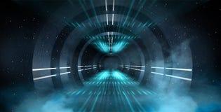 Abstrakt tunnel, korridor med strålar av ljusa och nya viktig Abstrakt blå bakgrund, neon royaltyfria foton