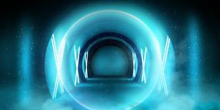 Abstrakt tunnel, korridor med strålar av ljusa och nya viktig Abstrakt blå bakgrund, neon arkivfoto