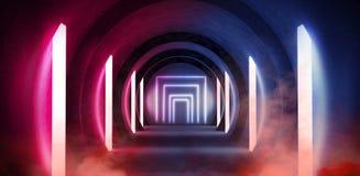 Abstrakt tunnel, korridor med strålar av ljusa och nya viktig Abstrakt blå bakgrund, neon royaltyfria bilder