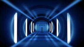 Abstrakt tunnel, korridor med strålar av ljusa och nya viktig Abstrakt blå bakgrund, neon royaltyfri foto