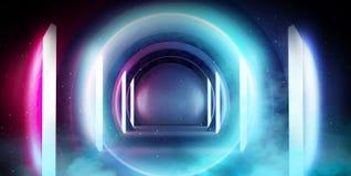 Abstrakt tunnel, korridor med strålar av ljusa och nya viktig Abstrakt blå bakgrund, neon royaltyfri bild