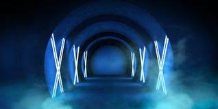 Abstrakt tunnel, korridor med strålar av ljusa och nya viktig Abstrakt blå bakgrund, neon arkivbilder