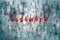 Abstrakt turkos spritt rött lösenord för binära nummer Royaltyfri Foto
