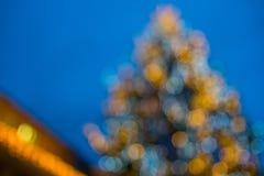Abstrakt unsharp julträd med bokeh arkivfoto