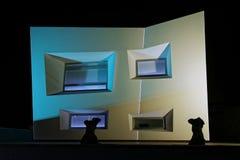 Abstrakt upplyst byggnad Arkivbild