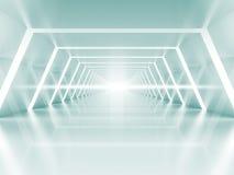 Abstrakt upplyst tomt ljus - blå glänsande korridorinre Arkivbild