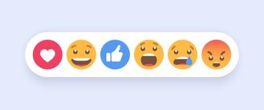 Abstrakt uppsättning av Emoticons Symboler för Emoji lägenhetstil på vit bakgrund 10 eps royaltyfri illustrationer