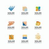 Abstrakt uppsättning av logoen för sol- energi Sollogo för märket Royaltyfri Fotografi