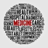 Abstrakt uppsättning av ord i form av en sfär på temat av medicin Arkivfoto