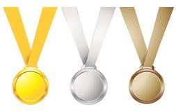 Abstrakt uppsättning för medalj för vektorillustrationbakgrund Arkivbild