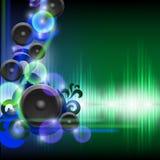 Abstrakt utjämnarebakgrund med högtalare blå grön wave Royaltyfri Bild