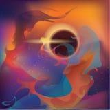 Abstrakt utrymme med planeter och nebulosan Royaltyfri Foto