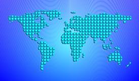 Abstrakt världskarta från fyrkanter 3D också vektor för coreldrawillustration royaltyfri illustrationer