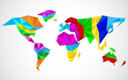 Abstrakt världskarta i geometrisk polygonal stil royaltyfri illustrationer