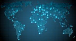 Abstrakt världskarta med digitala binära kontinenter, glödande städer, väl organiserade lager Arkivfoton