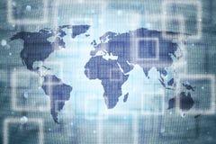 Abstrakt världskarta med nummer för binära data stock illustrationer
