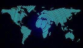 Abstrakt världskarta på en bakgrund av sexhörningar också vektor för coreldrawillustration royaltyfri illustrationer