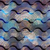 Abstrakt vågmodell med grungeprydnaden Arkivfoton