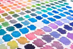 Abstrakt vattenfärg i blått, violet och turkos Fotografering för Bildbyråer