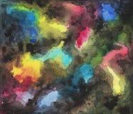 Abstrakt vattenfärg och färgpulver hand-dragen bakgrund Slät färglutning med svarta färgpulvermoln Fotografering för Bildbyråer