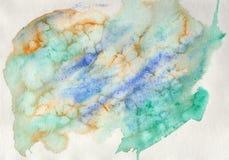 Abstrakt vattenfärg på papper Bakgrundsgräsplan, blått och guling Royaltyfri Fotografi