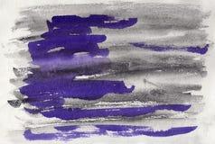 Abstrakt vattenfärg på papper Bakgrundsgrafit och violet Royaltyfri Foto