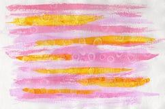 Abstrakt vattenfärg på papper Bakgrundsrosa färger och guling Royaltyfri Foto