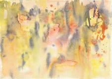 Abstrakt vattenfärgbakgrund, guling och svartfärger Royaltyfri Illustrationer
