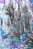 Abstrakt vattenfärgbakgrund med fantastiska träd, Royaltyfri Fotografi