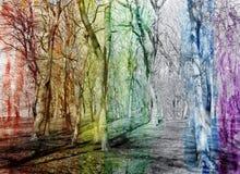 Abstrakt vattenfärgbakgrund med fantastiska träd, Arkivbild