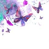 Abstrakt vattenfärgbakgrund med fjärilar stock illustrationer