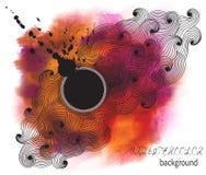 Abstrakt vattenfärgbakgrund med fläck och tömmer utrymme för te royaltyfri illustrationer