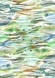 Abstrakt vattenfärgbakgrund med gräsplan och blått borstar slaglängder i bandtexturhanden som dras med frihandsklickar, färgstänk Arkivbild
