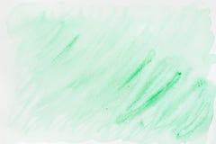 Abstrakt vattenfärgfläck av delikata skuggor, mjuka gröna färger på vit Hand-dragen bakgrund och pappers- textur för Arkivfoto