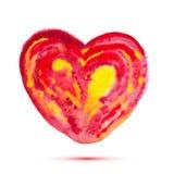 Abstrakt vattenfärghjärta för vektor för valentin dag eller bröllop Arkivbild