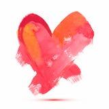 Abstrakt vattenfärghjärta för vektor för valentin dag eller bröllop Royaltyfri Bild