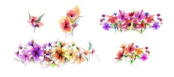Abstrakt vattenfärgmålningblomma och blad Illustrationen som isoleras av våren, sommarblommor, målar design över vit bakgrund vektor illustrationer