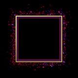 Abstrakt vattenfärgram på svart bakgrund Arkivfoto