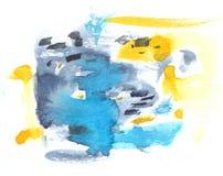 Abstrakt vattenfärgtextur med målade fläckar och slaglängder Delikat konstnärlig bakgrund med blått, grå färger och guling Royaltyfria Bilder