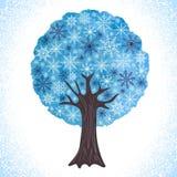 Abstrakt vattenfärgvinterträd med snöflingor som sidor Royaltyfri Fotografi