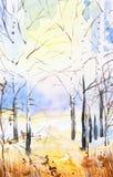 Abstrakt vattenf?rgillustration av skogen p? solnedg?ngen vektor illustrationer