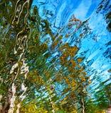 Abstrakt vattenreflexion, guling, gräsplan och blått Fotografering för Bildbyråer