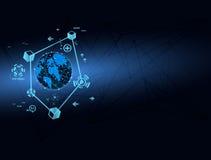 Abstrakt vektor för begrepp för översikt för globalt nätverk för teknologi Arkivfoton