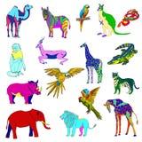 abstrakt vektor för färgfiskillustration Uppsättning av djur, papegoja, giraff, apa, gasell, elefant, noshörning, känguru, kamel, Arkivbild