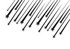 Abstrakt vektor för fallande stjärna - svart skyttestjärna med den eleganta stjärnaslingan på vit bakgrund - Meteoroid, komet Arkivfoto